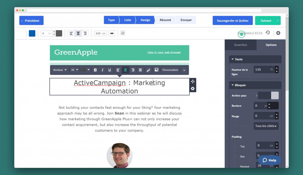 ActiveCampaign - Conception d'e-mail