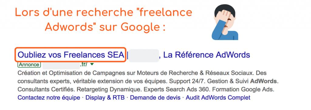 """Publicité d'un agence web incitant à """"oublier"""" les freelance."""