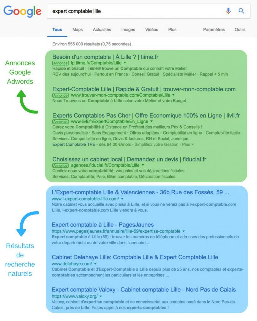 Différence des positions entre les annonces Google Ads et le référencement naturel sur Google.
