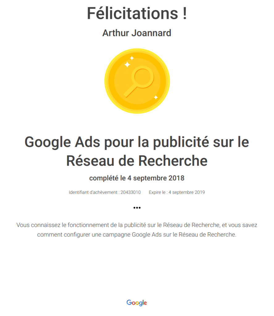 Ma certification Google Ads