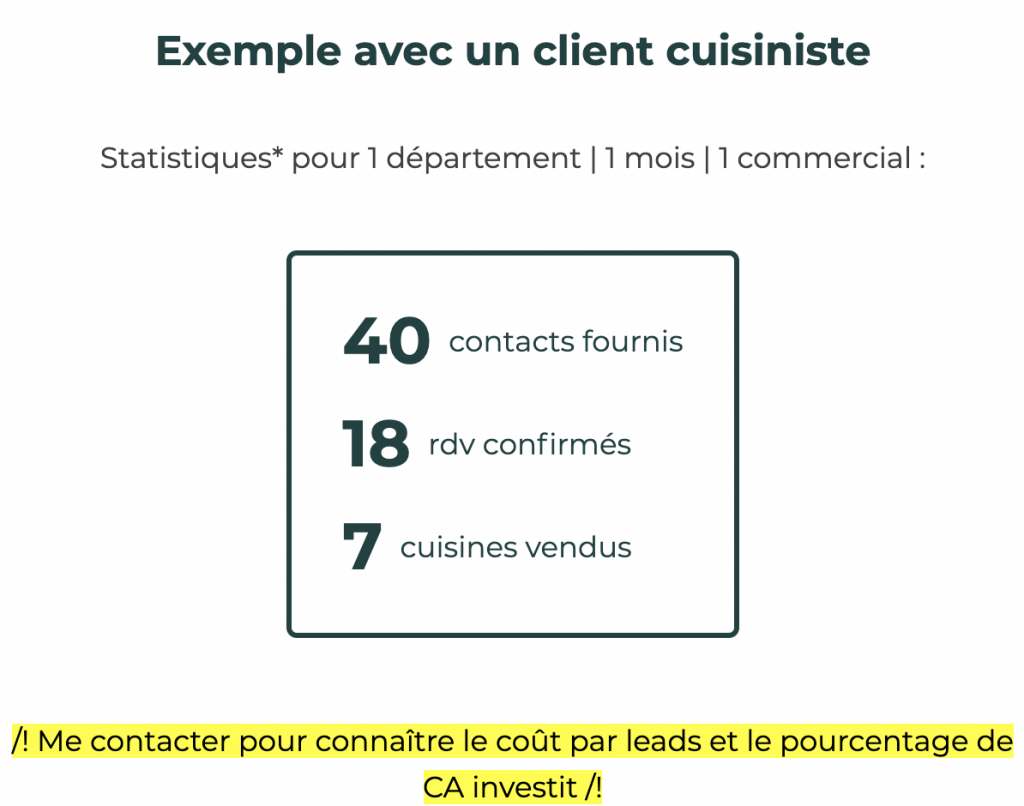 Statistiques obtenus par un de mes clients cuisinistes grâce aux leads que je lui envoie. Sur 40 leads envoyés, il a obtenu 18 RDV et a vendu 7 cuisines.