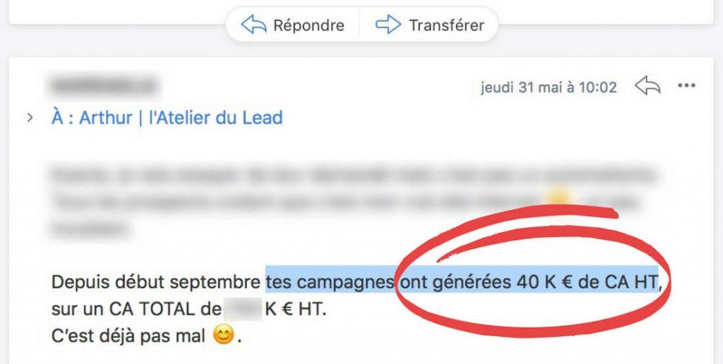 Mail de debriefing d'un client qui a réalisé 40K€ de CA grâce à sa campagne Google Ads.