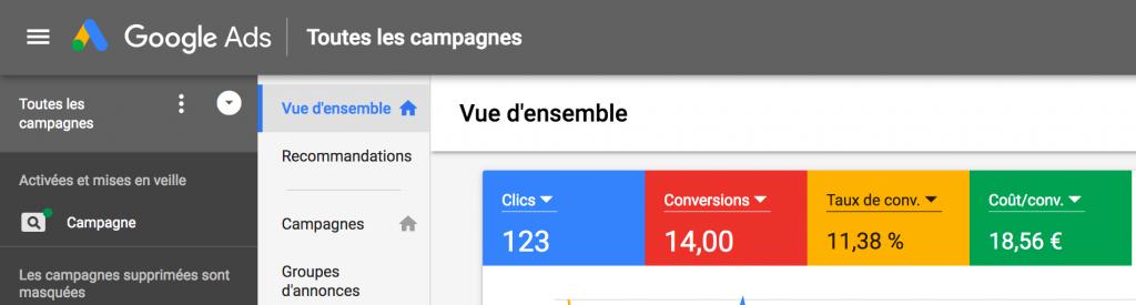 Statistiques obtenus sur Google Ads. 123 Clics, 14 conversions soit un taux de conversion de 11,38% avec un coût par conversion de 18,56€.