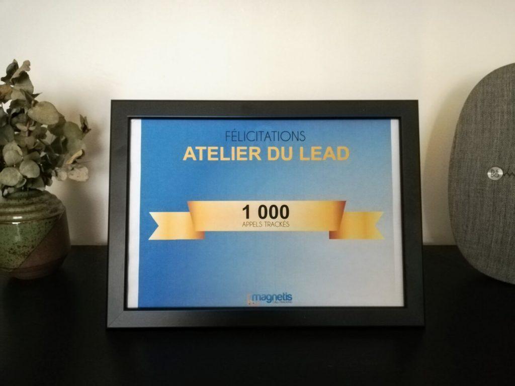 Récompense que j'ai obtenu sur au seuil de 1000 appels générés pour mes clients et trackés grâce à la solution magnetis.